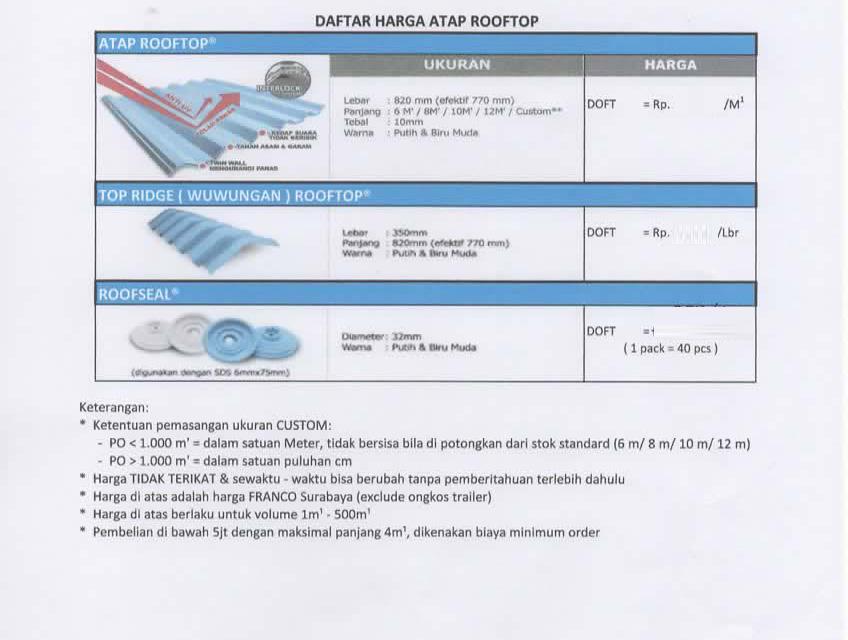 daftar harga atap pvc rooftop per meter